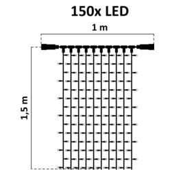decoLED LED rideau lumineux - 1x1.5m, bicolore, 150 diodes